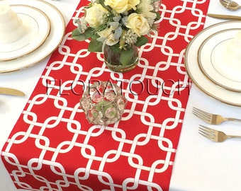 Red and White Chain Link Table Runner Wedding Table Runner