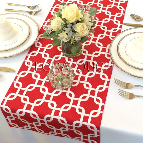 Runner table Table Wedding White and Gotcha runner  Red overhang Runner Table