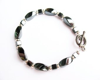 Casual Hematite Bracelet - Hematite Swirl Beads - for Men or Women