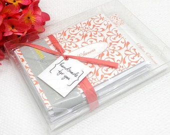 complete personalized stationery set - LACY FLOURISHES - personalized stationary - note cards - notepad - choose color