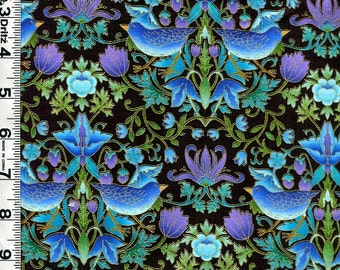 Fabric Timeless EDEN WILLIAM MORRIS Style Floral Birds Blues Metallic Gold