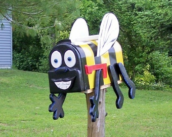 bumble bee mailbox with flapping wings custom handmade