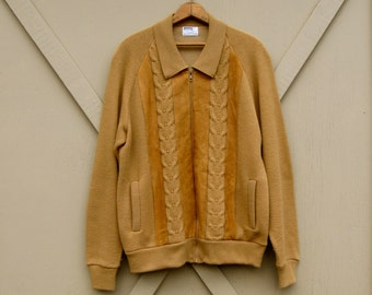 60s vintage Toffee Brown Acrylic Cable Knit Cardigan Zipper Sweater with Brown Suede Trim