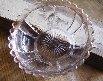 Antique Pressed Glass Bowl with shabby Gold Trim