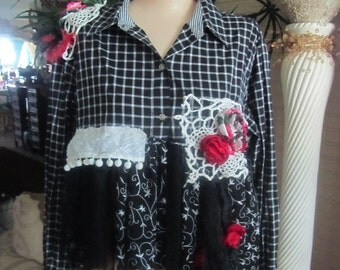 Upcycled Tattered Blouse, Shabby Plaid, Crop Top, Lagenlook Top, Cottage Chic, Mori Girl, Bohemian Gypsy Top, Crochet Lace,