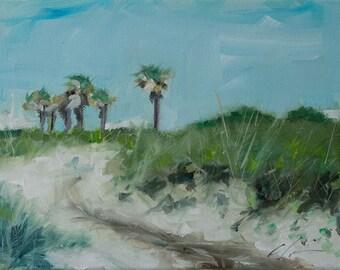 Summer, Beach, Shore, Coastal, Blue, Sandy Dunes, Palm Trees, Bald Head Island, Original Painting by Clair Hartmann