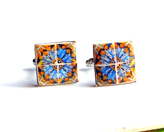 Portugal Antique 17th Century Gold Blue Azulejo Tile CUFFLINKS from Tomar - Convent of Christ built in 1160  -17mm