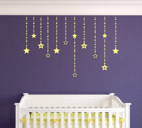 Falling Stars wall decals - wall decor - girls bedroom wall decals - stars  moon celestrial