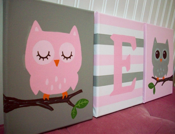 Owl Nursery Paintings Wall Decor Pink Grey Hand Painted