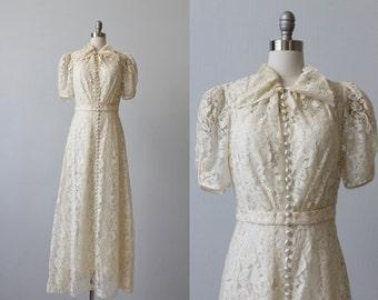 1930s Wedding Dress / Lace Wedding Dress / 30s Wedding Dress / Ophelia