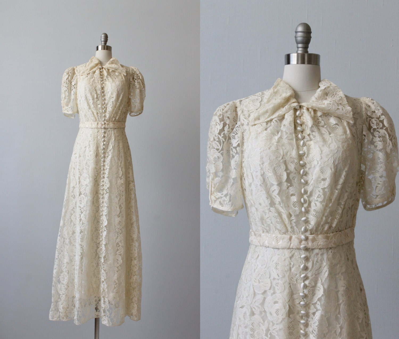 1930s Wedding Dresses: 1930s Wedding Dress / Lace Wedding Dress / 30s Wedding Dress