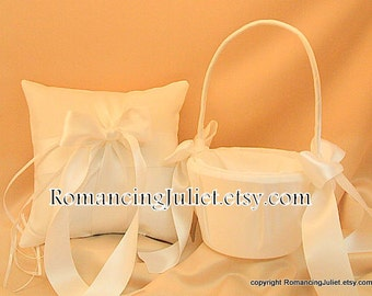 Custom Colors Flower Girl Basket and Romantic Satin Ring Bearer Pillow Combo...You Choose The Colors..shown in white/white