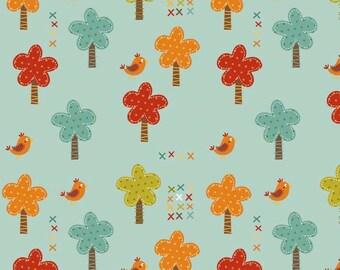 FALL SALE - 2 yards - Giraffe Crossing - Trees in Teal - Sku C2851 - Riley Blake Designs