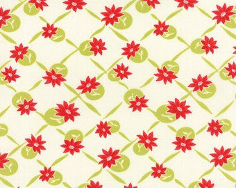 WINTER Sale - Quilt Backing Cut - 5 yards - Miss Kate - Polka in White and Green Apple - Sku 55097 14 - Bonnie and Camille - Moda Fabrics