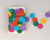 Garland of Felt Fanfare in Confetti colors: Cyan, Lavender, Golden, Magenta, Kelly and Orange