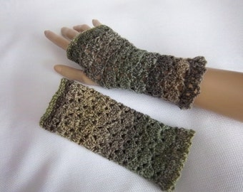 Lacy Fingerless Stretch Gloves in Khaki, Green, Olive - Ready To Ship Texting Arm Warmers Lace Women's Girl's Gloves