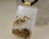 Heron Necklace - Dichroic Fused Glass Pendant - Fused Glass - Dichroic Glass - Bird Jewelry - Wild Life - African - 22K Gold X6280