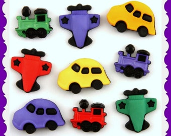 Things That Go, Airplane, Train and Car, Buttons Galore Novelty  Buttons 9 buttons  on card