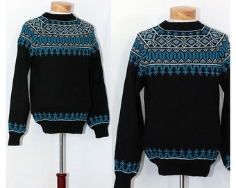 Vintage 50s Fair Isle Mens Sweater Black with Turquoise and White Knit