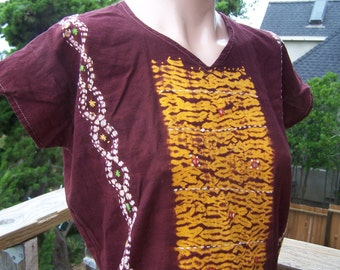Tribal Tunic, Batik tunic, Hippie blouse, Batik blouse, Hippie mini dress, size M