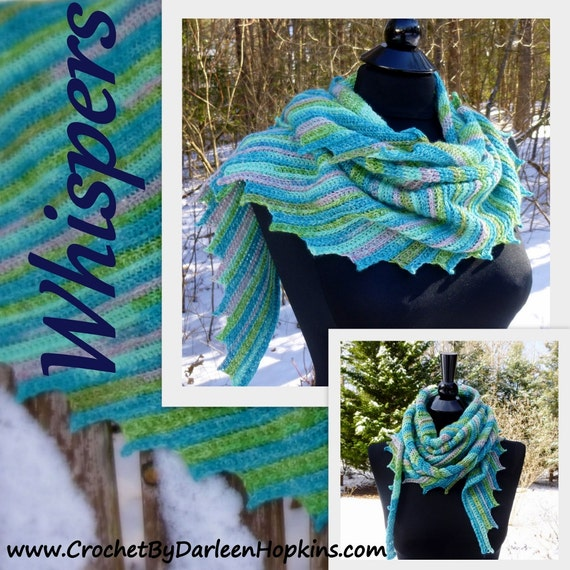 Crochet Pattern Shawl or Cowl, Scarf, Shawlette Whisper sock dk sport worsted lace yarn INSTANT pdf DOWNLOAD with BONUS Frog Hat Pattern