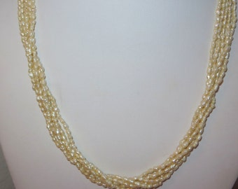 5 strand 1970s genuine rice pearl necklace, 14K Gold filigree clasp, very nice vintage, free US first class shipping