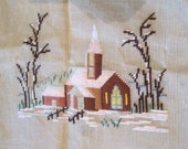 Needlepoint Tapestry Church Snow Winter Scene Needlepoint Tapestry Kit Vintage Exclusive Jolles Austrian Needle Work Kit Rustic Needlepoint