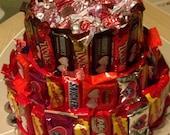 Valentine Three Tier Candy Bar Cake, Valentine Candy Cake, Valentine Candy, Candy Cake