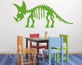 Triceratops Skeleton - vinyl decal - dinosaur boys room - wall decor