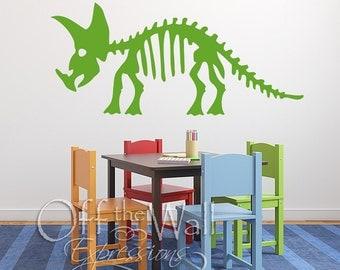 Triceratops Skeleton - vinyl decal - dinosaur boys room - wall decor