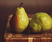 Still Life Food Photography -Dress in Green- dark red rich deep moody brown white rustic foodie fruit kitchen gift idea light green Pears
