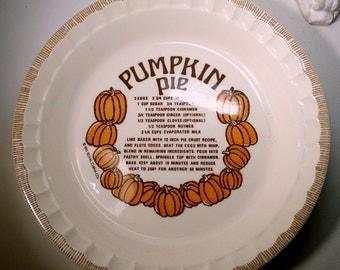 Pumpkin Pie Baking Dish,  Recipe, 1980s, Deep  Pie Dish..Brown,Orange on Cream Ceramic, Porcelain, Royal China Country Harvest, USA