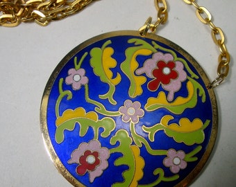 Cloisonne Enamel Medallion on Gold Chain, 1980s, Lime, Cobalt, Lavender and Yellow, Floral Mandala Design