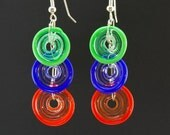Circle Earrings in Multi-Colors 3, Handmade Lampwork Glass Jewelry