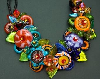 Fantasy Flower Bracelet, Handmade Glass Jewelry