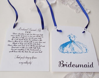 Bridesmaid Survival Kit Tags- Non-Personalized With poem, Set of 6- Cobalt Blue