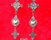 E143 Abiquiu Cross Over Mesilla Burning Heart and Ruidoso Cross sterling silver earrings Native Southwestern Style