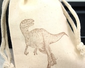 Dinosaur Favor Bags - Velociraptor - Set of 10 4x6 muslin bags - party favors, goodie bags, thank you