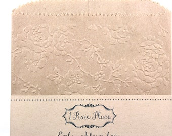 Victorian Rose Embossed Kraft Paper Bags - Weddings, Showers, birthdays - LARGE