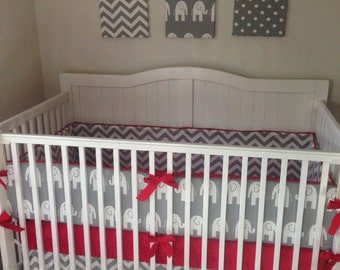 Crib Bedding Set Gray Red Elephant Made to Order