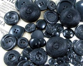 55 Assorted Vintage Black Plastic Buttons, Some with Interesting Designs