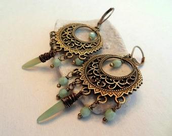 Bohemian Earrings: Beaded Earrings Gypsy Earrings Chandelier Earrings Antique Brass Earrings Soft Pastel Green Bohemian Jewelry