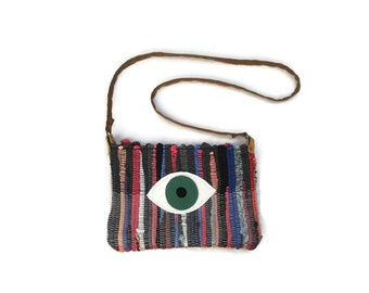 Evil Eye Boho Bag. Small Messenger Bag. Cute Crossbody Bag. Festival Wear. Womens Gift. Hippie Shoulder Bag. Gypsy Bag.