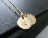 Double Initial necklace, 14k gold filled 2 initial necklace,  personalized monogram jewelry