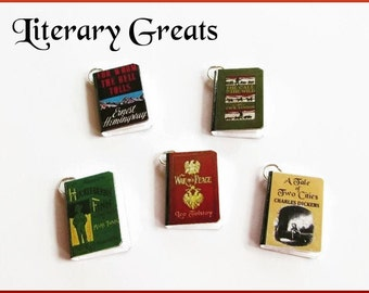 Miniature Book Charms Literary Greats Inspired Set of  all Five