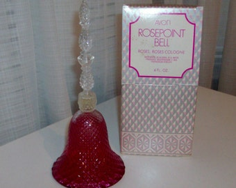 NEW Rosepoint Bell Decanter with Roses, Roses Cologne by Avon (code d)
