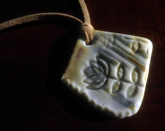 handmade Porcelain Pendant necklace, OOAK