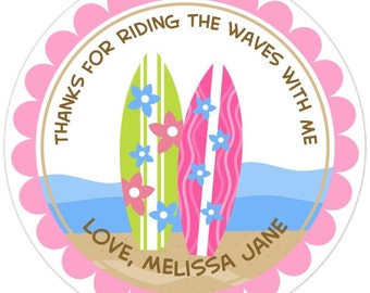 Custom Surf Birthday Labels, Surfboard Stickers, Ocean Stickers, Ocean Surf Party stickers - Personalized for YOU