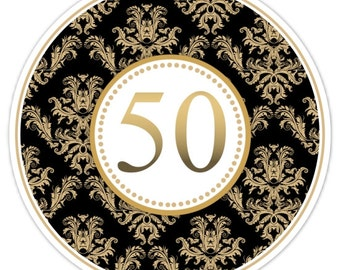 50th Anniversary Stickers, Gold and Black Damask Anniversary Party Favor Stickers - 2.5 inch round, 50th Party Favors