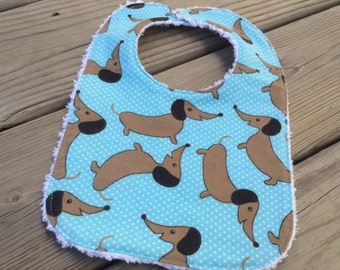 Flannel & Chenille Baby Bib, Snap Closure, Blue Polka Dot with Wiener Dogs